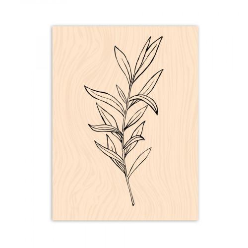 Tampon bois Légère comme une feuille - 6 x 8 cm
