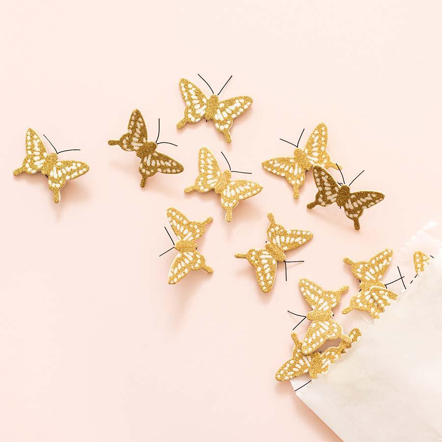 Heritage Papillons pailletés or - 8 pcs