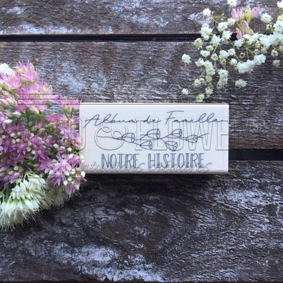 Tampon bois Album de famille - 8,5 x 4 cm