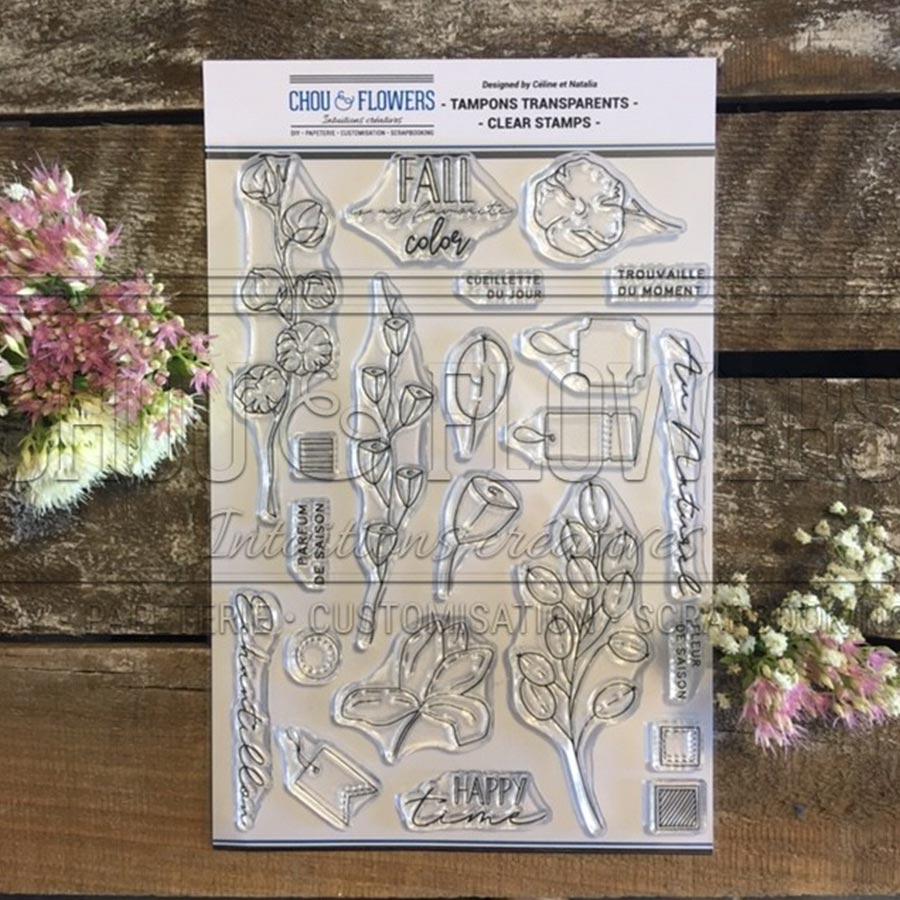 Tampons transparents Fleurs d'automne - A5