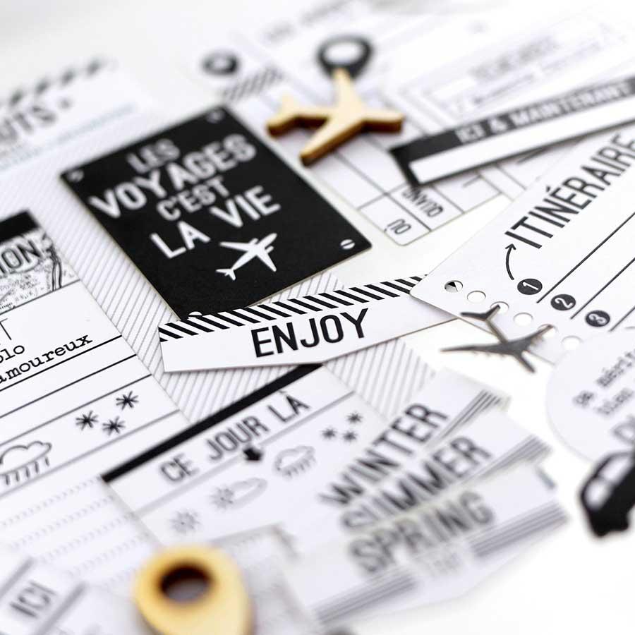 Die-cuts Ticket voyage - blanc