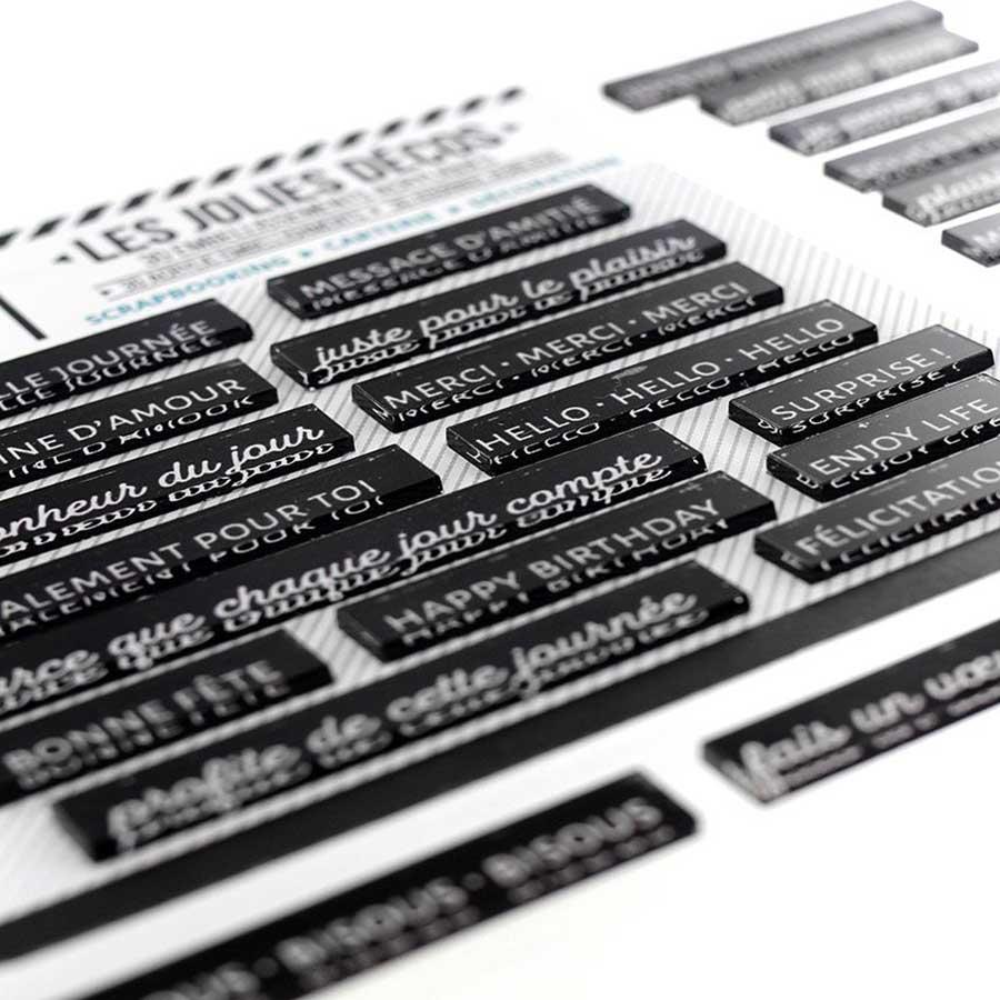 Décos Mots doux Carbone - 30 embellissements acryliques