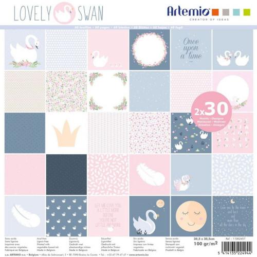 Lovely Swan Assortiment de 60 papiers