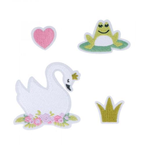 Ecussons brodés thermocollants Lovely Swan - 4 pcs