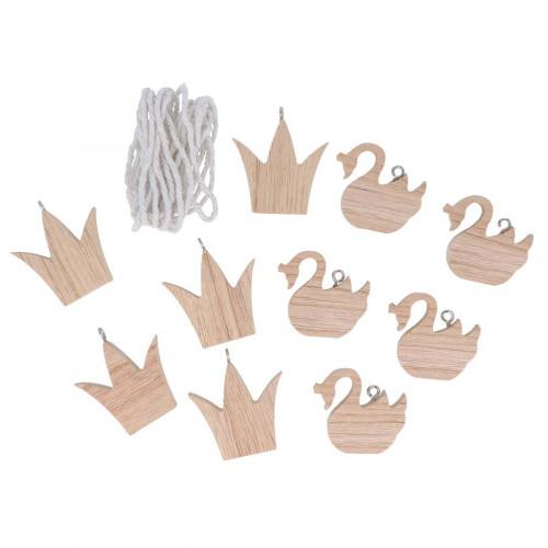 Guirlande en bois 5 cygnes et 5 couronnes