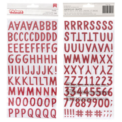 Alphabet Puffy Stickers rouges - 154 pcs