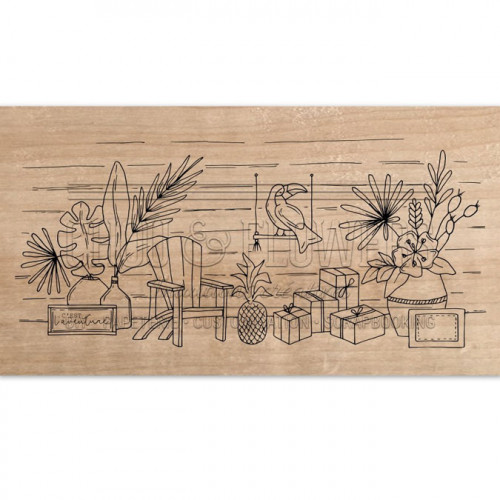 Tampon bois Ambiance exotique - 15 x 8 cm