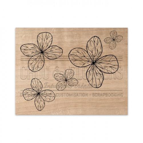 Tampon bois Fleurs légères - 9 x 7 cm