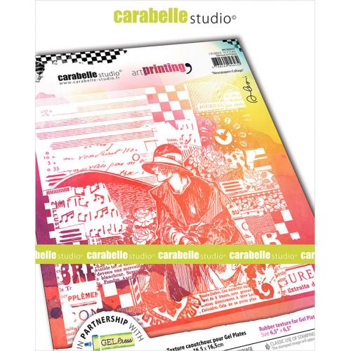 Tampon texture pour Gel Press Collage journaux - 16,5 x 16,5 cm