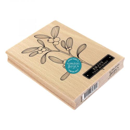 Tampon bois Branche de gui - 10 x 13 cm