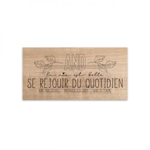 Tampon bois Se réjouir du quotidien - 8 x 4 cm