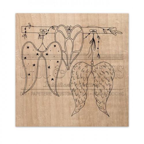 Tampon bois Les ailes - 9 x 9 cm