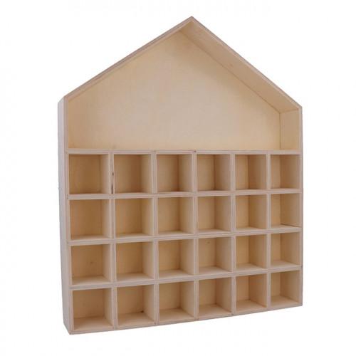 Calendrier de l'Avent en bois brut Maison