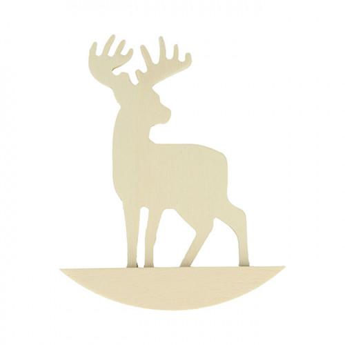 Cerf sur bascule silhouette en médium 10,3 x 13,2 x 2 cm - 2 pcs