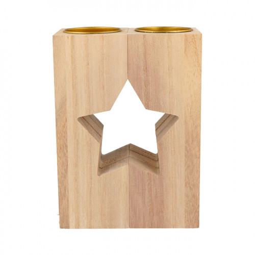 Bougeoir étoile en bois 11 cm x 2 pcs
