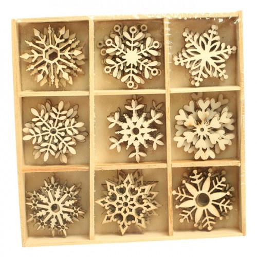 Embellissements bois flocon 3 cm x 45 pcs