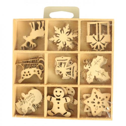 Embellissements bois formes assorties 3 cm x 45 pcs