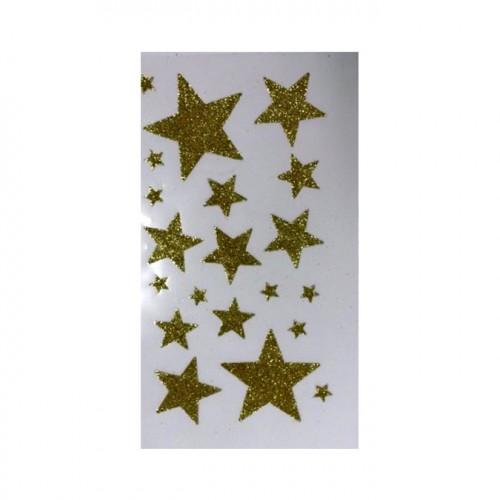 Autocollant étoile Or pailleté 1 à 5 cm 20 pcs