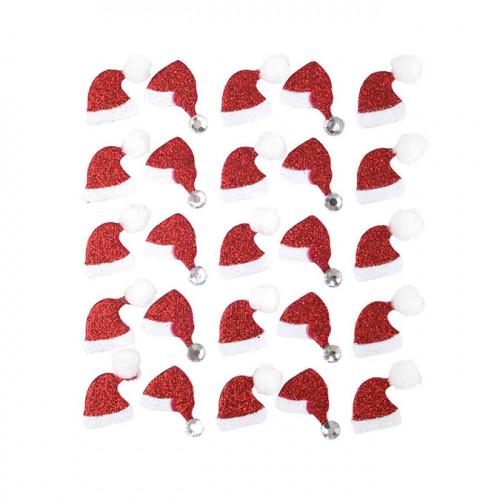 Autocollant Bonnet de Père Noël 2 x 1,5 cm x 25 pcs