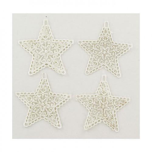 Étoile en crochet 8 cm 4 pcs