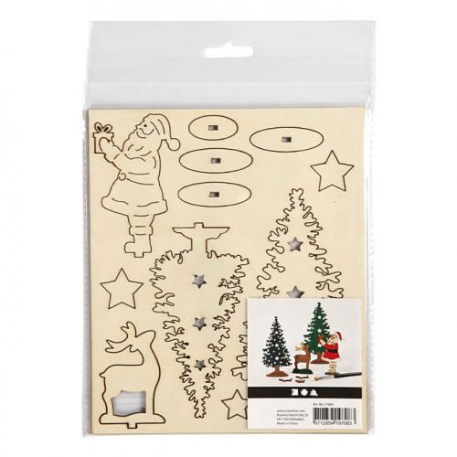 Figurine en bois à assembler Thème de noël Père Noël et cerf