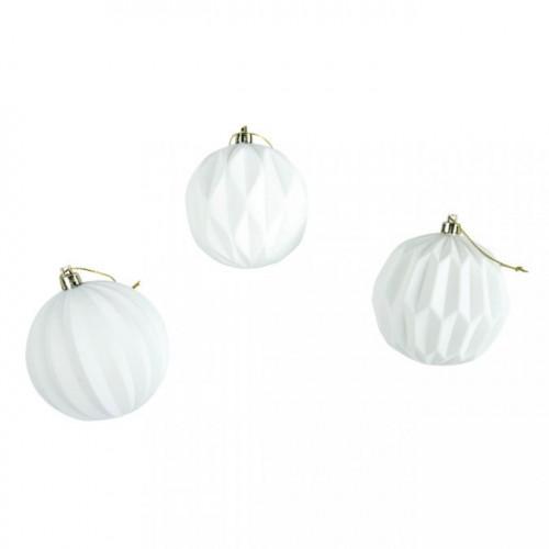 Boule en plastique blanc 8 cm 3 pcs