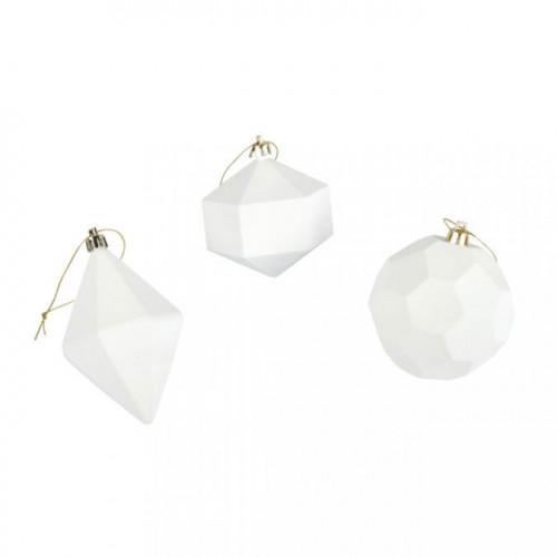 Boule en plastique blanc 7-8 cm 3 pcs