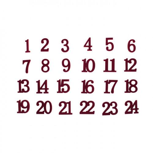 Chiffres en bois pour calendrier de l'Avent velours rouge vin