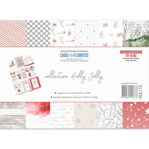 Assortiment de papiers imprimés Holly Jolly - A4