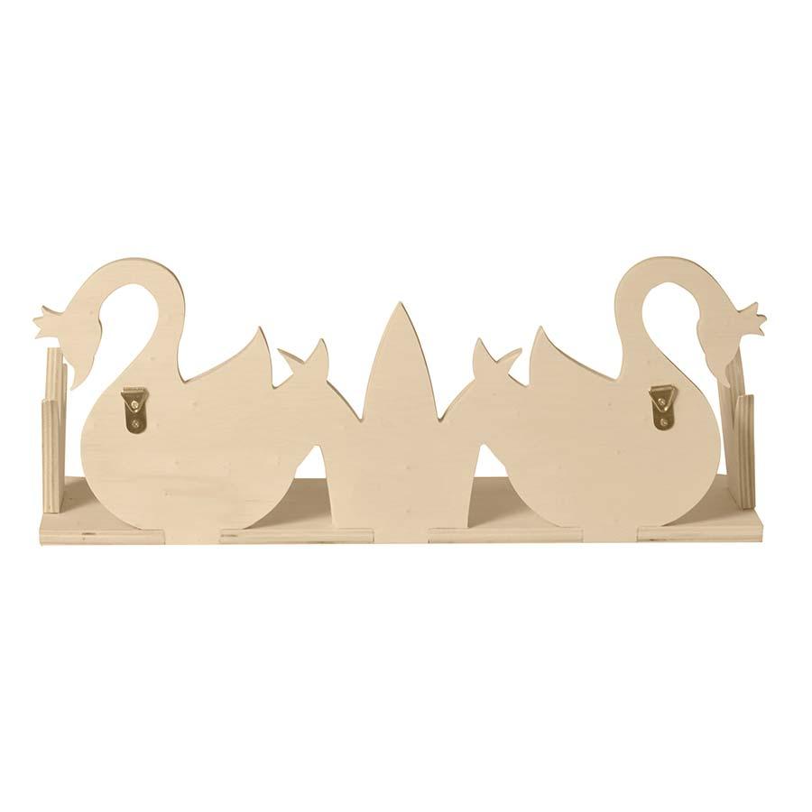 Etagère en bois 2 cygnes - 40 x 16 x 12 cm