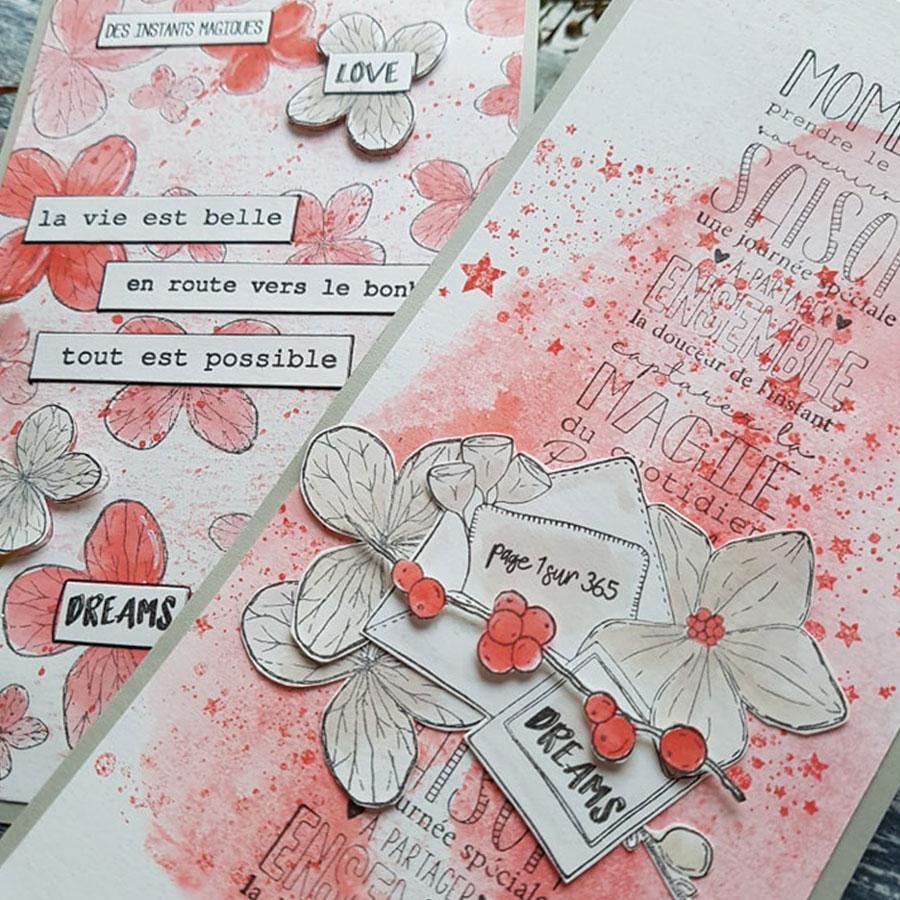 Tampon bois Notes exotiques - 8 x 7 cm
