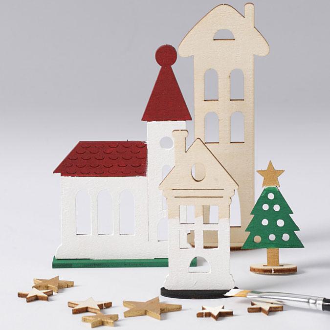 Figurine en bois à assembler Thème de noël Ville de noël
