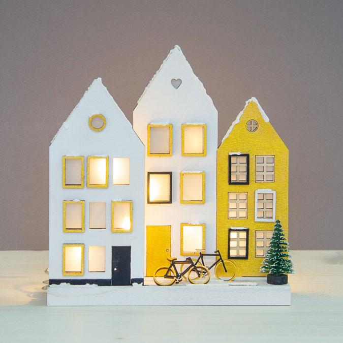 Décor 3D en bois Maisons 15,1 x 18,8 cm