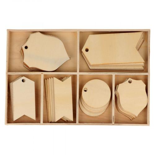 Etiquettes en bois - 36 pcs