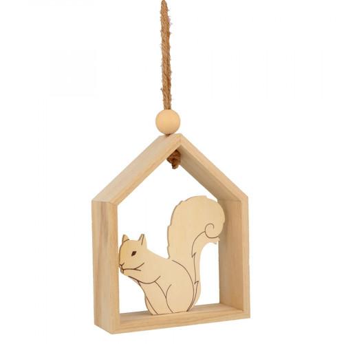Suspension Maison avec écureuil - 12 x 15 x 4 cm