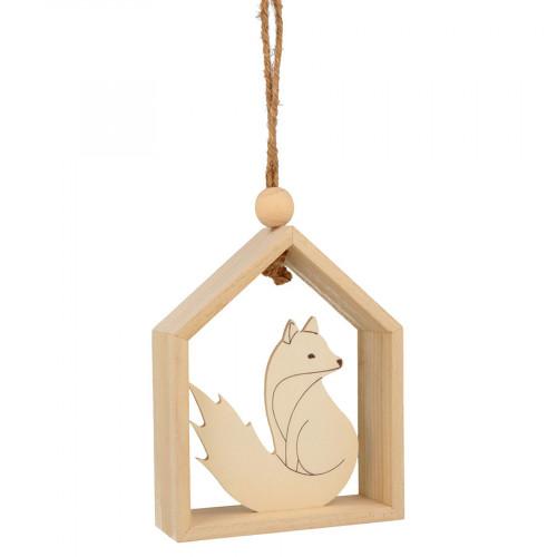 Suspension Maison avec renard - 12 x 15 x 4 cm