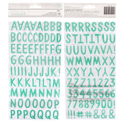 Alphabet Puffy Stickers turquoises - 148 pcs