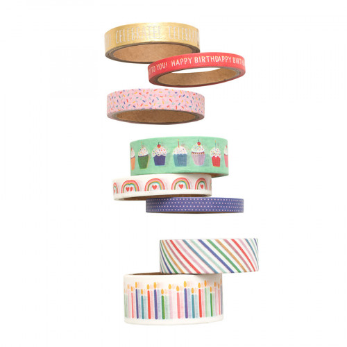 Happy Cake Day Washi Tape - 8 rouleaux