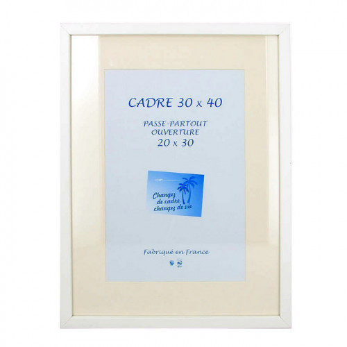 Cadre en MDF Carla blanc + passe-partout 30 x 40 cm