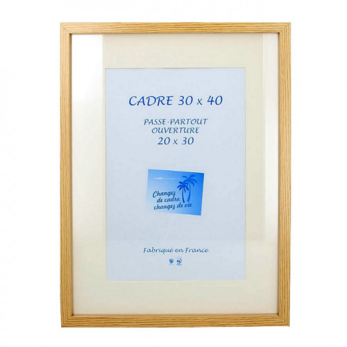 Cadre en MDF Carla chêne + passe-partout 30 x 40 cm