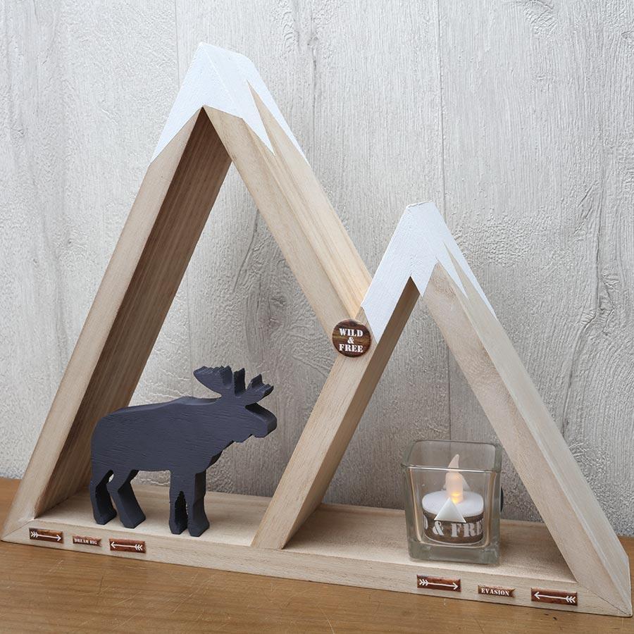 Caribou en bois - 11,5 x 10 x 1,8 cm