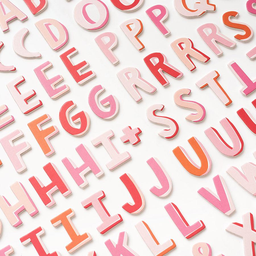 Alphabet Stickers en mousse tons roses - 92 pcs