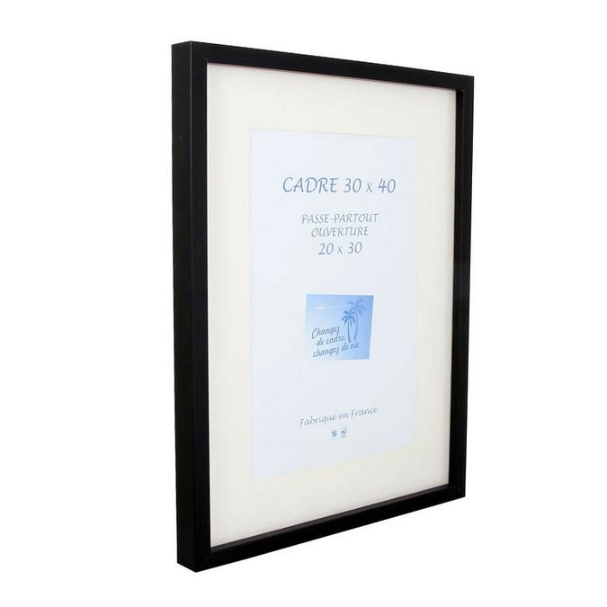 Cadre en MDF Carla noir + passe-partout 30 x 40 cm