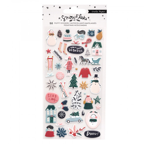 Snowflake Puffy Stickers - 50 pcs