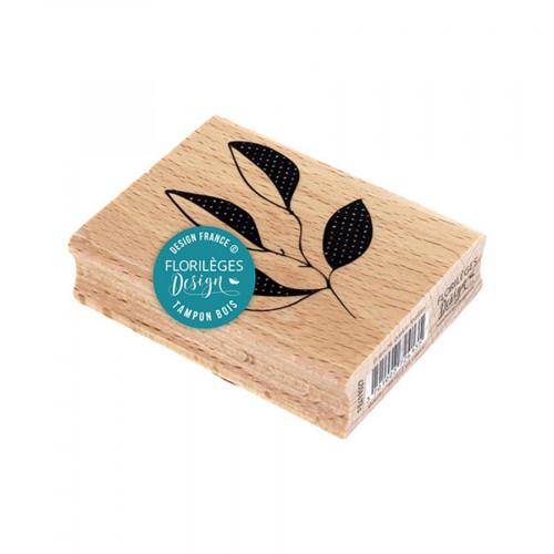 Tampon bois Branche quatre feuilles - 6 x 8 cm