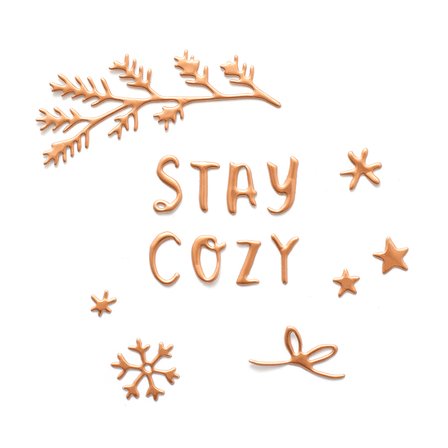 Snowflake Puffy Stickers Phrases - 89 pcs