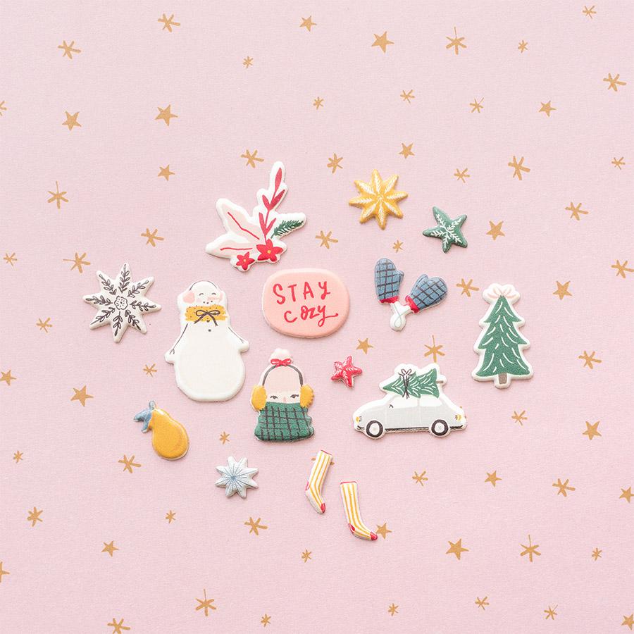 Snowflake Puffy Stickers - 50 pcs