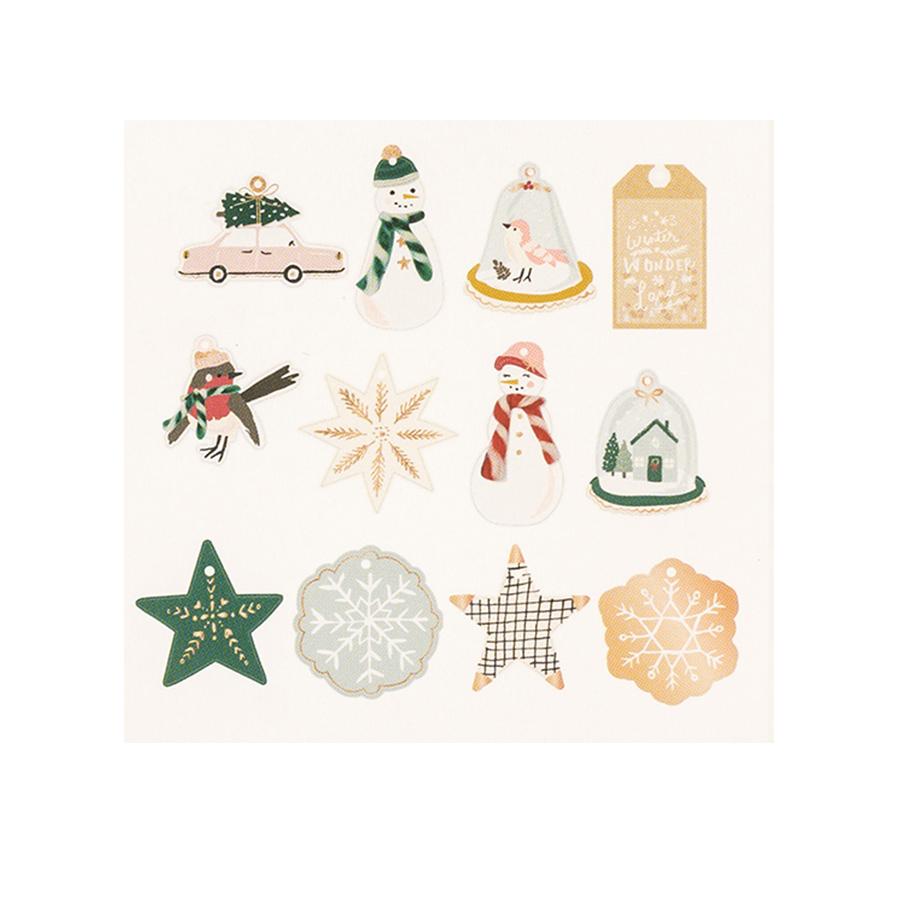 Snowflake Etiquettes 3D - 12 pcs