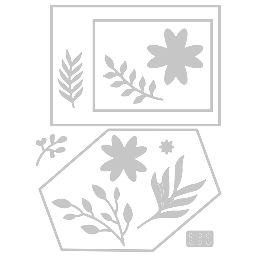 Thinlits Die Set Cadres géométriques fleuris - 12 pcs