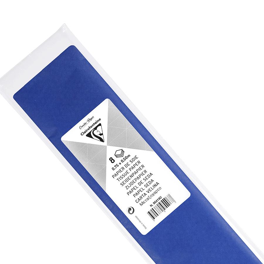Papier de soie 18g/m² x8f. - Bleu France - 50 x 75 cm